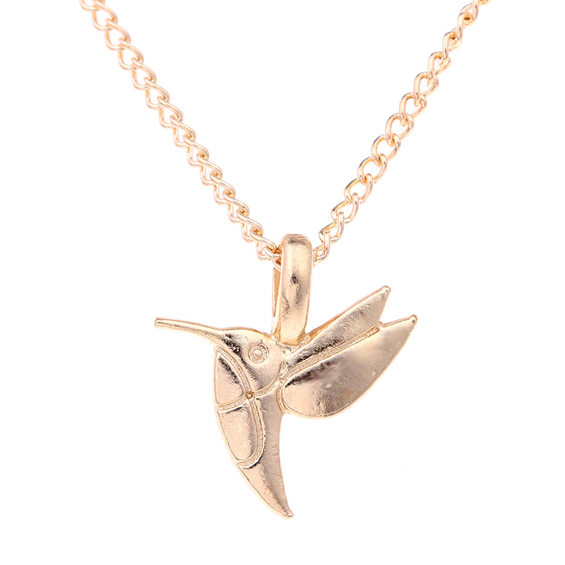 Cute Gold-color Life Is Beautiful Bird Pendant Necklace Animal Short Choker Clavicle Necklace For Women Jewelry