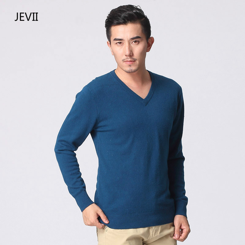 Leisure Slim Sweater Men's Classic Pure Black Pullover Solid Color V-Neck Pulling Men's Cashmere Wool Sweater Shirt