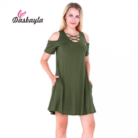 Dasbayla 2017 Summer Women S Cold Shoulder Tunic Swing Dress With Pockets Criss Cross O Neck