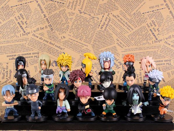 21pcs/set Cartoon ornaments Naruto Q version of the 4 generation 21 small doll Huoying family portrait collection set model xinqite home furnishing ornaments product suspension globe round 3 inch 85mm blue english version of the spot