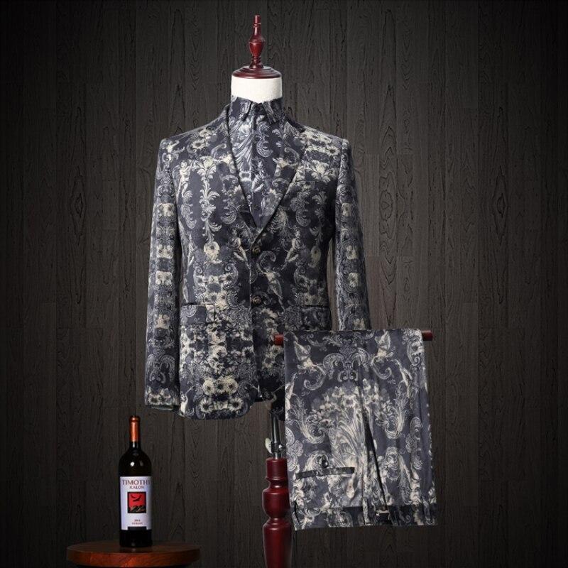 Floral Print 3 Pcs Suit Men Slim Fit 2018 Leisure Wedding Event Dress Suits for Men Peak Lapel Costume Homme Tuxedo 833