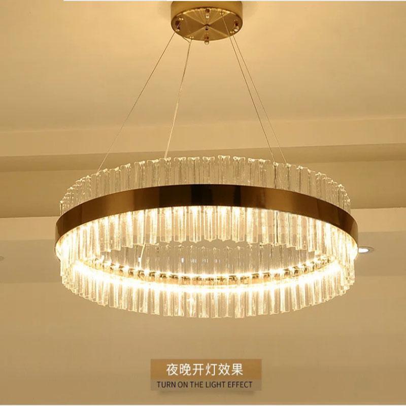 Modern Crystal LED Pendant lights Fixtures For Living Room Dining Room Kitchen Lustre de Cristal Ceiling Lampen Hanging Ring