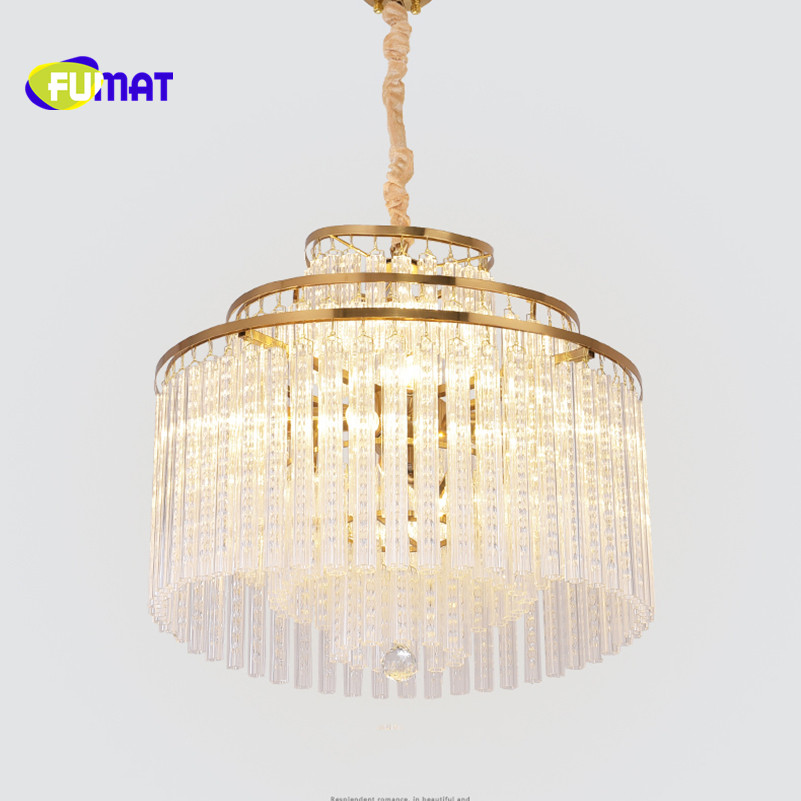 FUMAT Post Modern Rotates Glittering And Translucent K9 Crystal Stainless Steel LED Pendant Lighting Luxury Lamp For Duplex