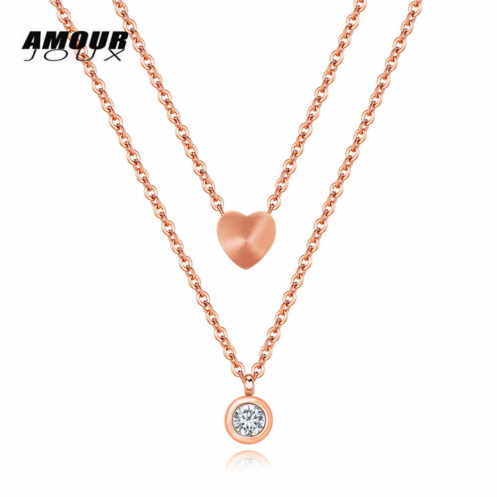AMOURJOUX Romantic Womans Dual Layers Polish Heart Zircon Rose Gold Color 316L Stainless Steel Choker Necklaces For Women