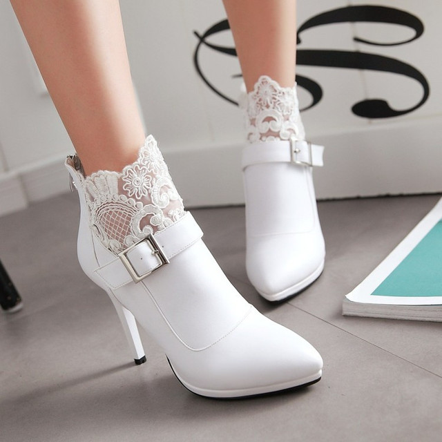 9fa81d80cb7 PXELENA Winter Sexy Women Wedding Boots White Thin High Heel Lace Pointed  Toe Back Zip Fashion Ankle Boots Bridal Buckle 34-42