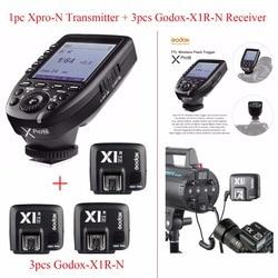 Godox Xpro-N TTL 2.4G Wireless 1/8000s HSS Flash Trigger for Nikon DSLR,1pc Godox Xpro-N Transmitter + 3pcs Godox-X1R-N Receiver
