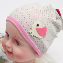 New Retail Spring Fall Girls Kids Baby Soft Cotton Birds Pattern Dots Candy Color Beanie Hats