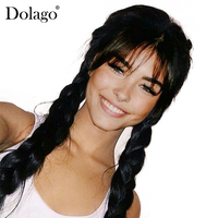360 Lace Frontal Wig With Bang Straight Lace Front Human Hair Wigs For Women Pre Plucked With Baby Hair Black Dolago Remy