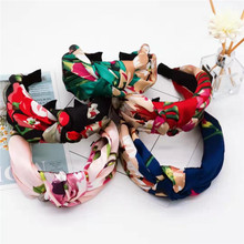 Haimei Kang retro geranium print headband satin fabric knotted simple wide-brimmed hairpin hair band accessories