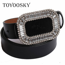 2019 Luxury Designer Genuine Leather Women Belt Elegant Rhinestone Thin Black Woolen skinny belt for women TOYOOSKY