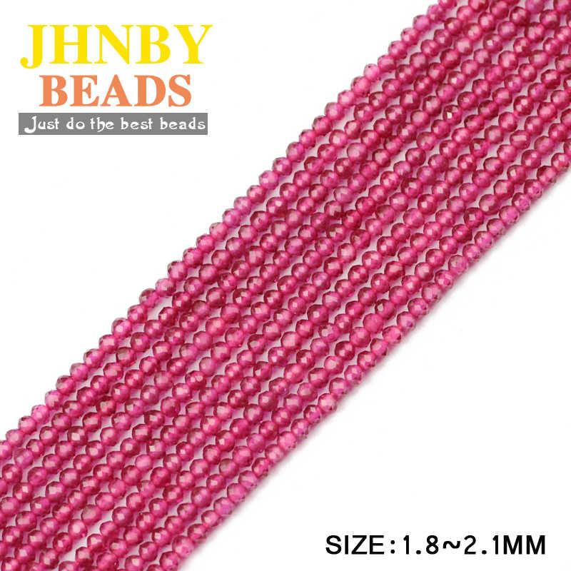 JHNBY 2mm Faceted gül kırmızı nadir toprak yuvarlak doğal taş 38cm iplik küçük dağınık boncuklar takı bilezik yapımı DIY aksesuarları