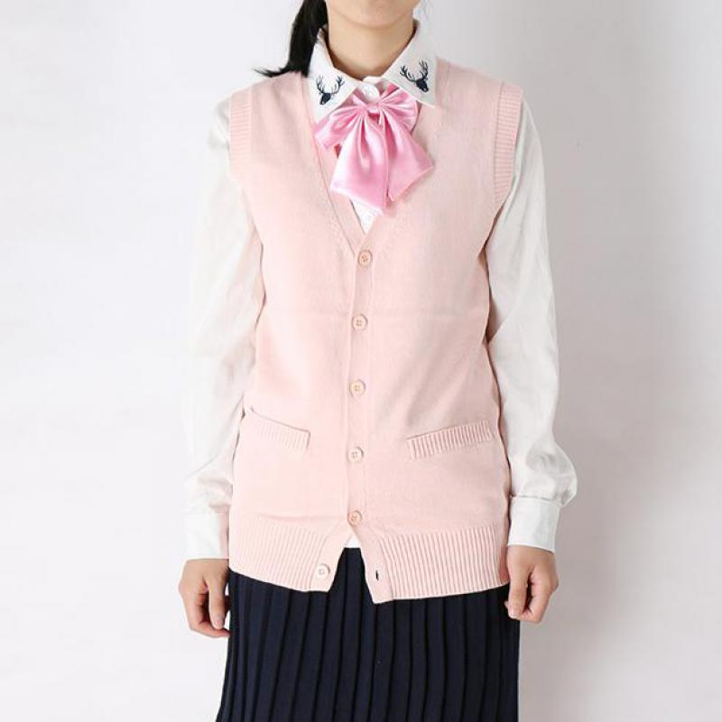 Japanese Girl College Uniform Knitted Cardigan Vest Campus Students Sweater Waistcoat V-neck Jk Spring And Autumn Daily Clothes