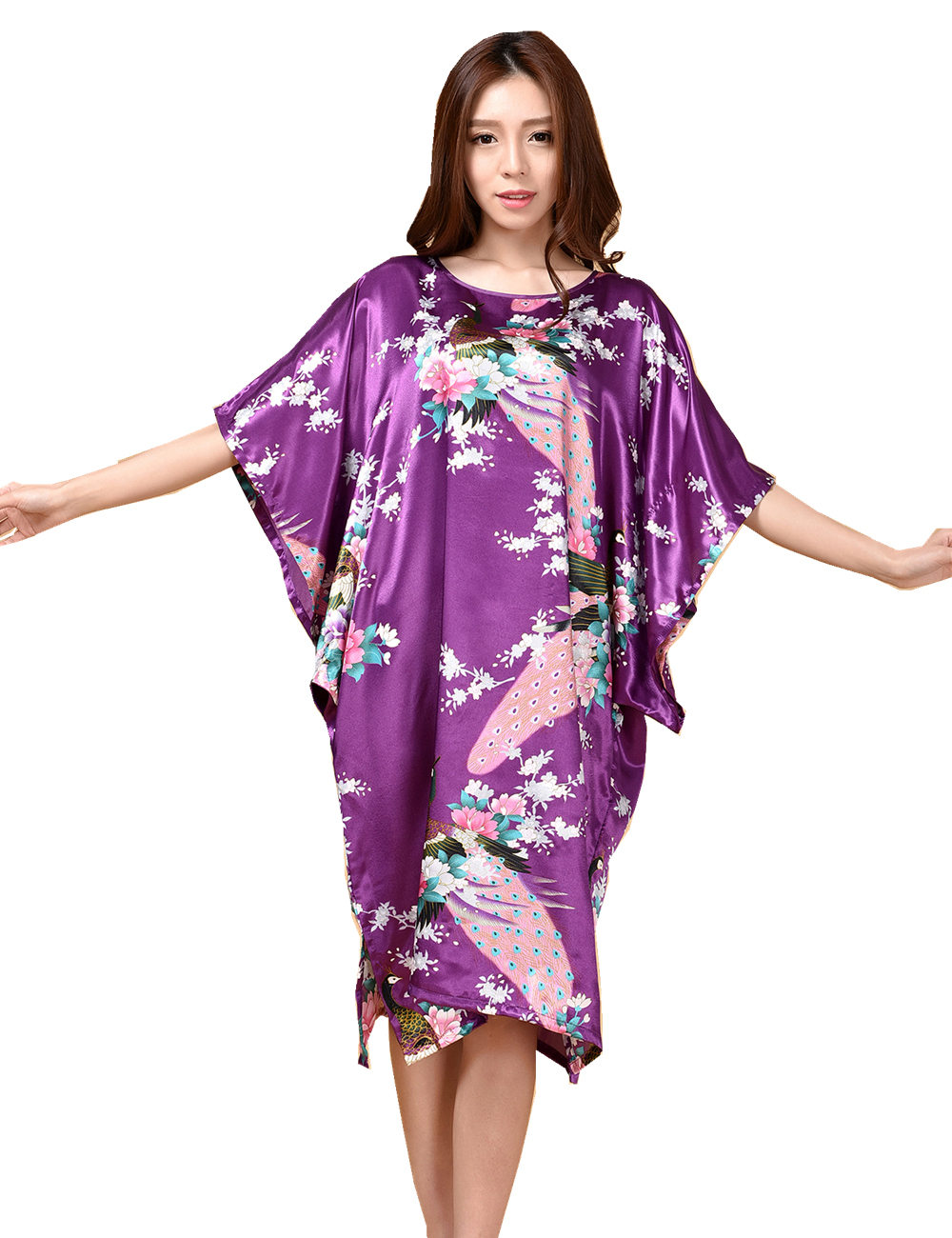 Purple Womens Faux Silk Robe Fashion New Chinese Style Summer Sleepwear Bath Gown Nightgown Mujer Pijama One Size Flower Zh06C