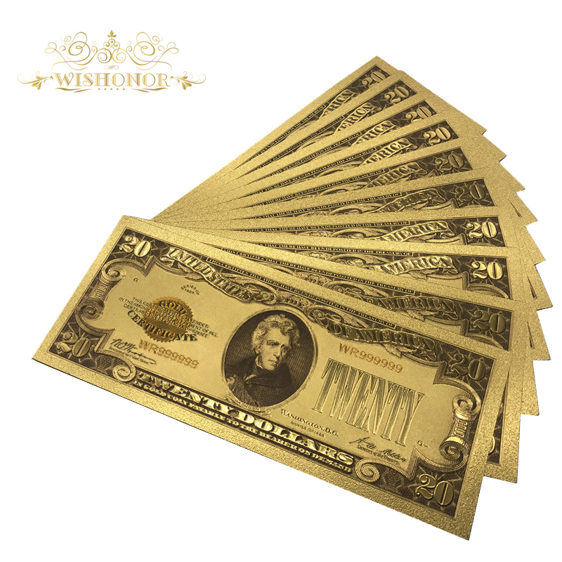 10pcs lot 1928 Year America Banknote 20 Dollar Banknote in 24k Gold Plated Fake Money Metal Crafts For Gifts And Collection in Gold Banknotes from Home Garden