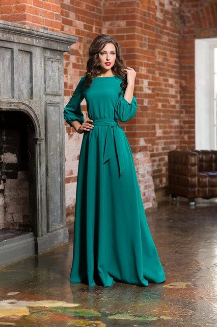 Pescoço da colher a line chiffon longo teal vestido 3/4 manga comprida simples e elegante da noite vestido de festa barato vestido de noite muçulmano