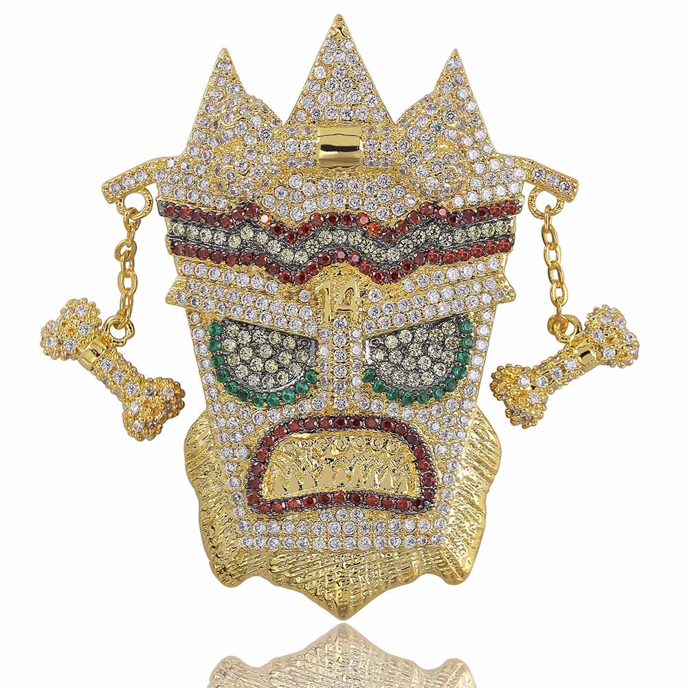 New Iced Out UKA Mask Solid Pendant Necklace Mens Personalized Micro Paved Hip Hop Gold Silver Color Bling Charm Chains JewelryNew Iced Out UKA Mask Solid Pendant Necklace Mens Personalized Micro Paved Hip Hop Gold Silver Color Bling Charm Chains Jewelry