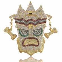 TOPGRILLZ New Iced Out UKA Mask Solid Pendant Necklace Mens Micro Paved Hip Hop Gold Silver Color Bling Charm Chains Jewelry
