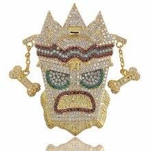 TOPGRILLZ nowy Iced Out UKA maska stały naszyjnik męska Micro betonowa Hip Hop złoty srebrny kolor cielisty Charm łańcuchy biżuteria