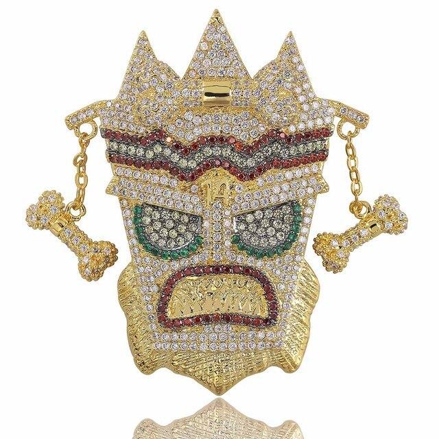 Topgrillz Mới Đá Ra Uka Mặt Nạ Nguyên Mặt Dây Chuyền Vòng Cổ Nam Micro Trải Nhựa Hip Hop Vàng Bạc Màu Bling Quyến Rũ dây Chuyền Trang Sức
