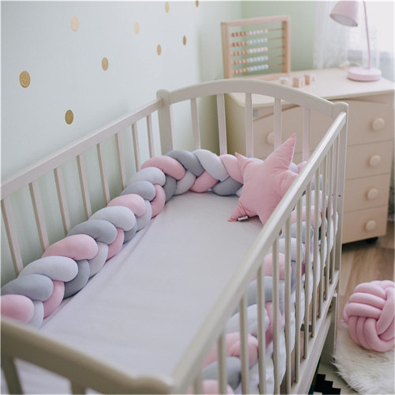 Long Knot Pillow Cushion NYJ Bed Fence Color : Green, Size : 2m Nursery Decorations Braided Bumper Cot Safety Bumpers