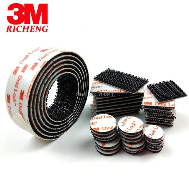 3M SJ3550 dual lock tape black reclosable fastener adhesive dots, stem density 250