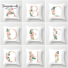 Fuwatacchi Flower English Letter Cushion Cover Pink Watercolor Printed Pillow Sofa Decorative Living Room White Pillowcase