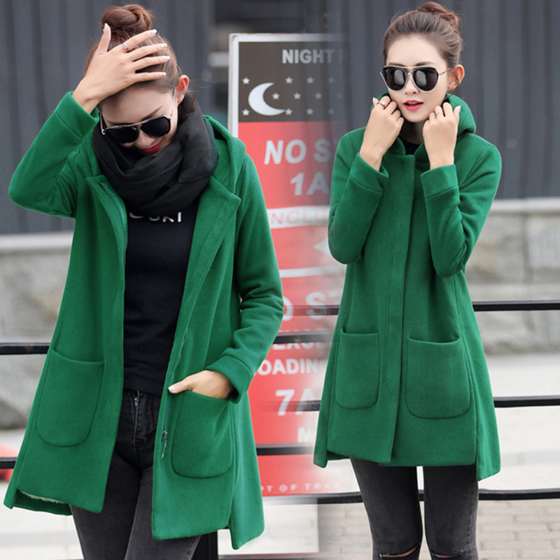 Autumn Winter Women's Fleece Jacket Coats Female Long Hooded Coats Outerwear Warm Thick Female Red Slim Fit Hoodies Jackets #5