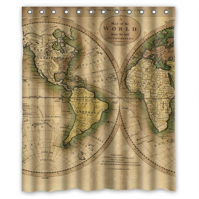 Simple World Map Pattern Shower Curtain Measure 60wx72h