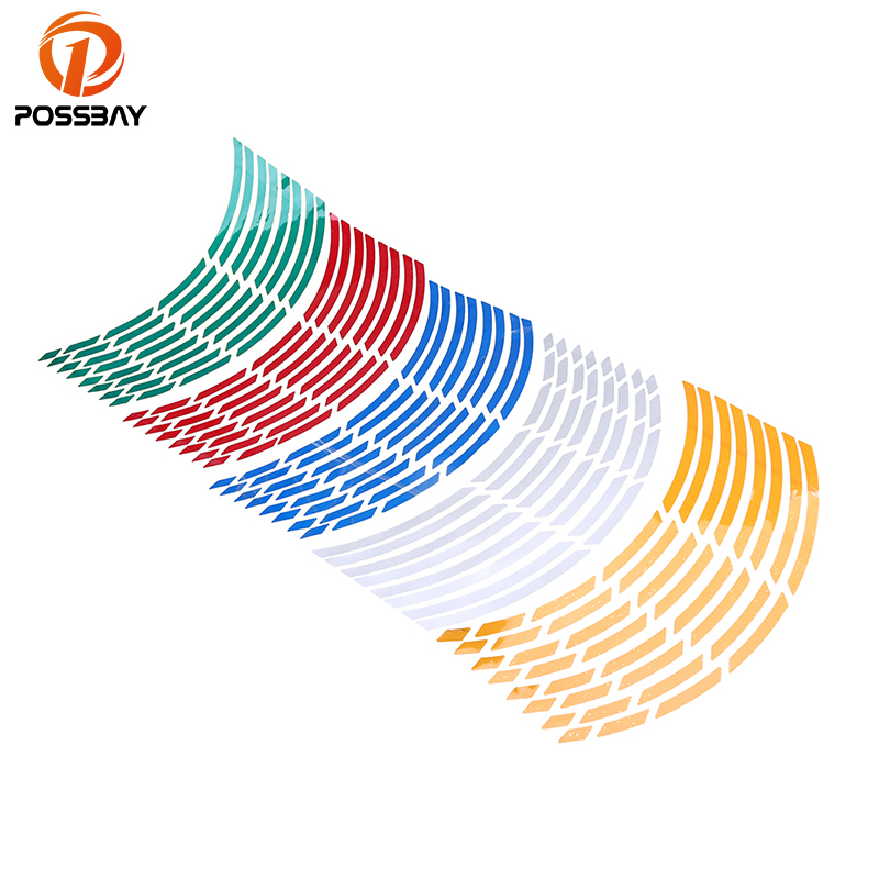 POSSBAY 16 Strips Motorcycle Car Sticker Wheel Tire Stickers Reflective Rim Tape Motorbike Car Exterior Accessories ATV Sticker