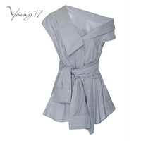 Young17 Blouse Summer Office Wear Blouses Off One Shoulder Women Striped Shirt Sexy Tops Party Club