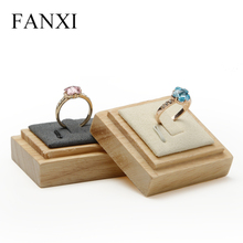 FANXI Solid Wood Creamy-white/Gray Ring Display Stand with Microfiber insert for Jewelry Exhibition Ring  Holder Organizer