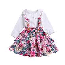 Kids Baby Girls Long Sleeve Tops Solid T Shirt Floral Overall Tutu Ruffle Dress Party Clothes Set 2019 недорого