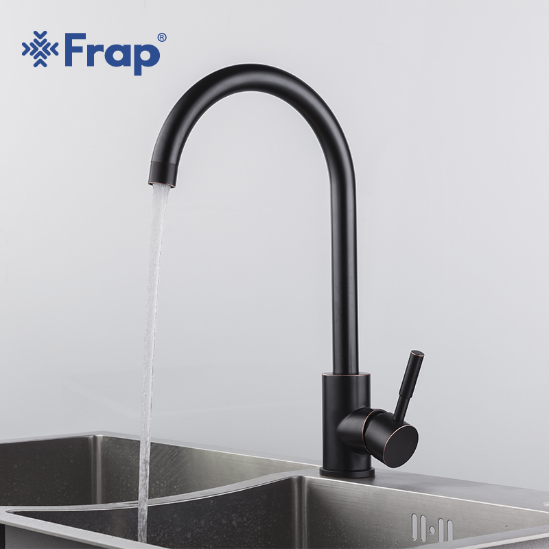 Frap Stainless Steel Kitchen Sink Faucet 360 Degree Swivel Black Single Handle Water Tap Sink Vintage Kitchen Mixer Tap Yf40002 frap kitchen sink faucet single handle 360 degree swivel spout 304 stainless steel basin faucet hot cold water mixer fld1893