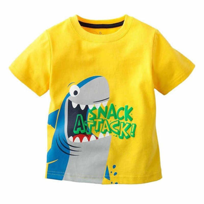 Camisetas de algodón de dibujos animados para bebés, camisetas de verano de manga corta con estampado de dinosaurio elefante tiburón, camisetas de algodón suave de alta calidad