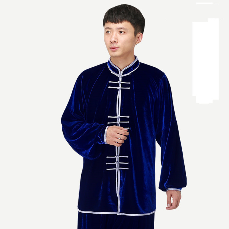 Man Autumn Winter Taiji Clothing Tai Ji Uniform Kung Fu Suit Shirt+Pants Thick Pleuche Wushu Clothes