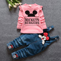 New 2017 Spring Children's Sets Cartoon Minnie T-shirt & Denim Overalls Pants Girl Clothing Set Infant Cloth Kids Fall Tracksuit