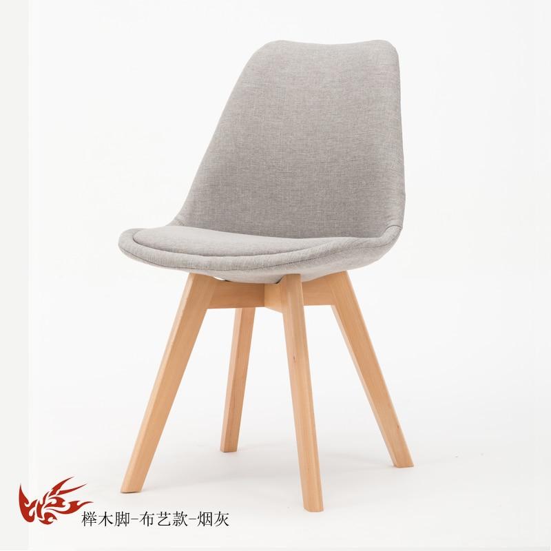 Простой стул Мода нордическая ткань; Массивная древесина обеденный стул кофе отель встречи, чтобы обсудить домашний табурет - Цвет: 12
