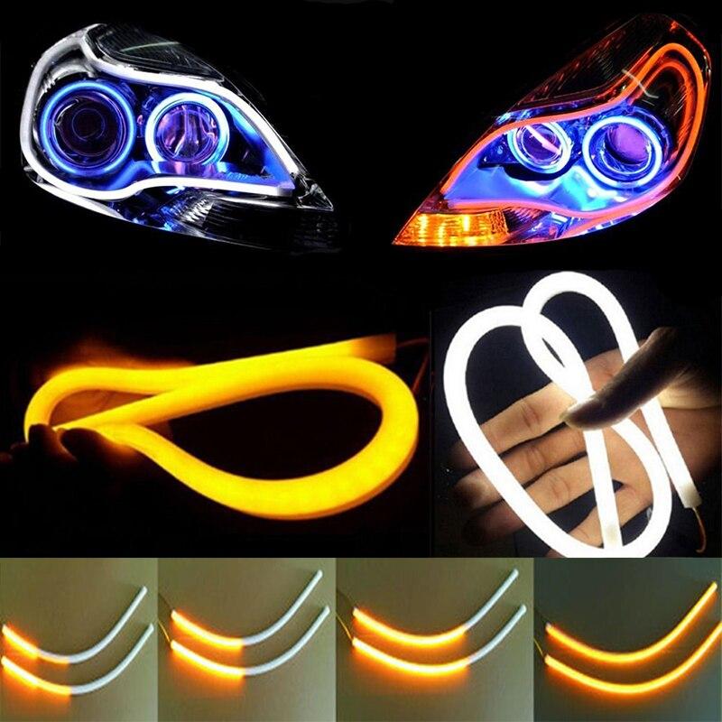 OKEEN 2 Pz 60 cm Sequenziale Che Scorre Angelo Occhi DRL Flessibile LED Tubo Striscia Luce Corrente di giorno Strappare Indicatori di Direzione Car Styling