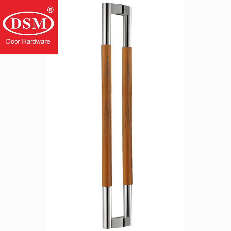Stainless Steel+Environmental Teakwood Pull Handle Antimicrobial Entrance Door Handles For Wooden/Glass/Metal Doors PA-218 antimicrobial black solid nylon offset door pull handle for entrance glass wooden metal frame doors pa 797