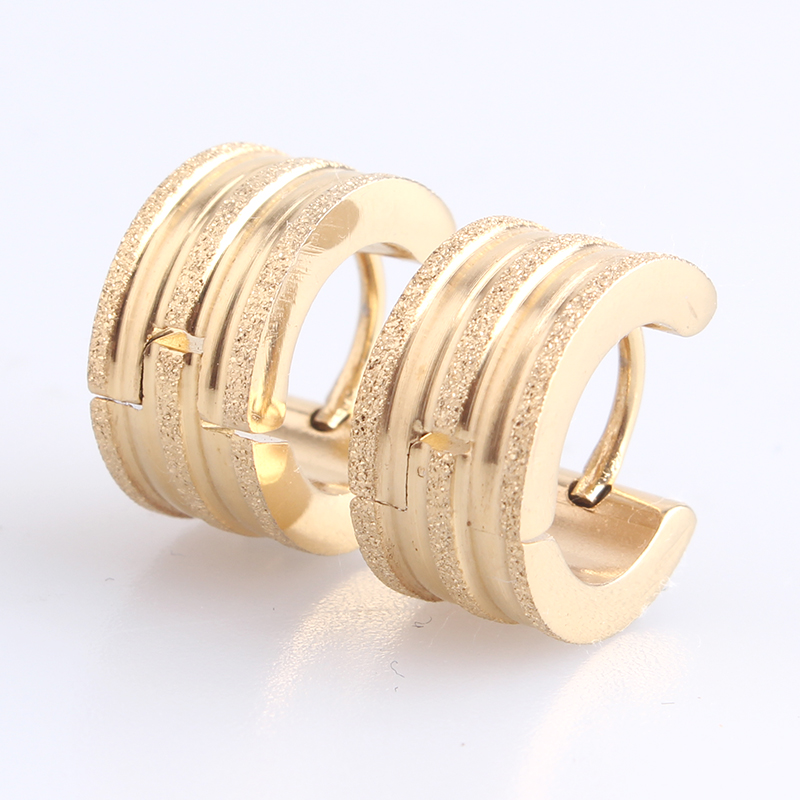 free shipping 7mm gold color Scrub Double stripe 316L Stainless Steel Stud Earrings for women men wholesale