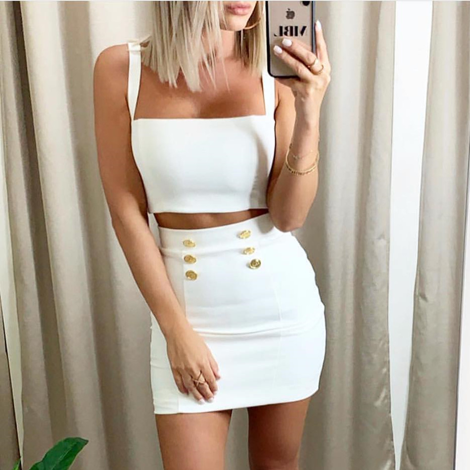 New Two Piece Fashion Bandage Top Skirt Evening Party Black Sleeveless Bodycon Sexy Club 2019 Summer