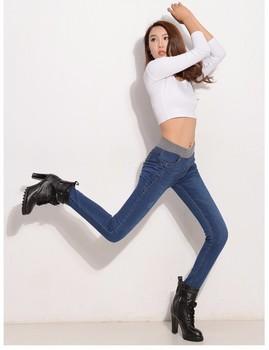 Plus Velvet Jeans Women Casual Pants High Waist Jeans Elastic Waist Pencil Pants Fashion Denim Trousers Winter Warm Plus Size 40 2