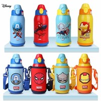 Disney 2019 New Disney Children Three Cover 600ML Thermos Cup With Cup Set Straw Cup Gift Tazas Sippy Cup Water Bottle For Kids