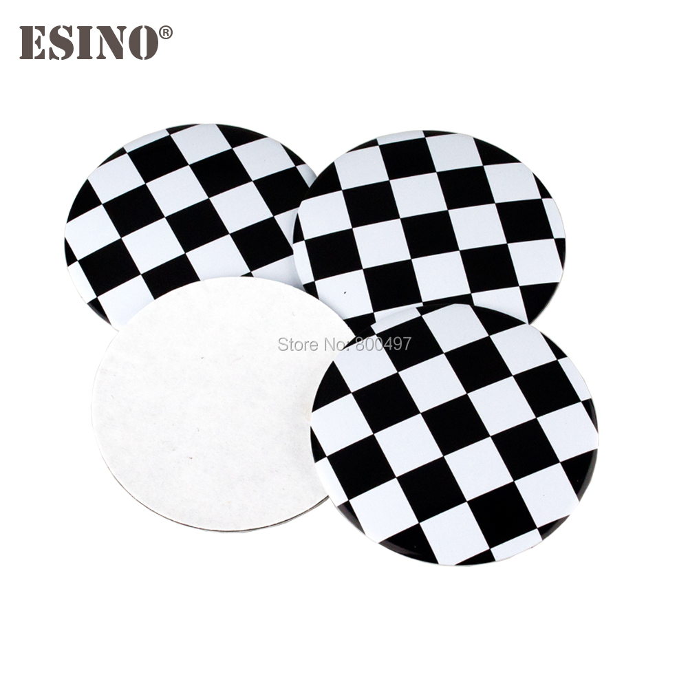 40 x Car Styling F1 Racing Flag Metal Chrome Aluminium Alloy Wheel Center Cap Stickers W ...