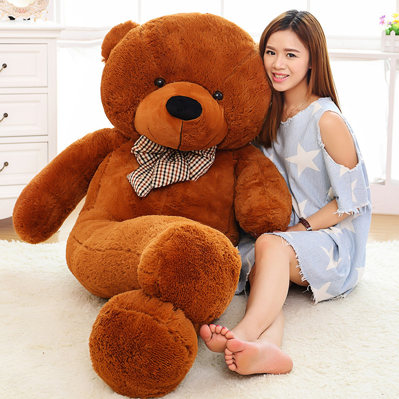 Free Shipping 5KG 220CM large giant stuffed teddy bear animals kid baby dolls life size teddy bear girls toy 2018 New arrival 200cm 2m 78inch huge giant stuffed teddy bear animals baby plush toys dolls life size teddy bear girls gifts 2018 new arrival