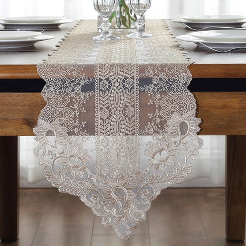 Dining Room Table Runner: White Embroidery Table Runner Elegant Lace Tableware