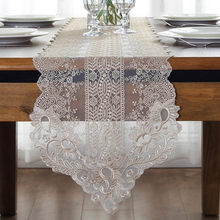 White Embroidery Table Runner Elegant Lace Tableware Dining Room Restaurant Cafe Wedding Holiday Event Catering Decoration P1(China)