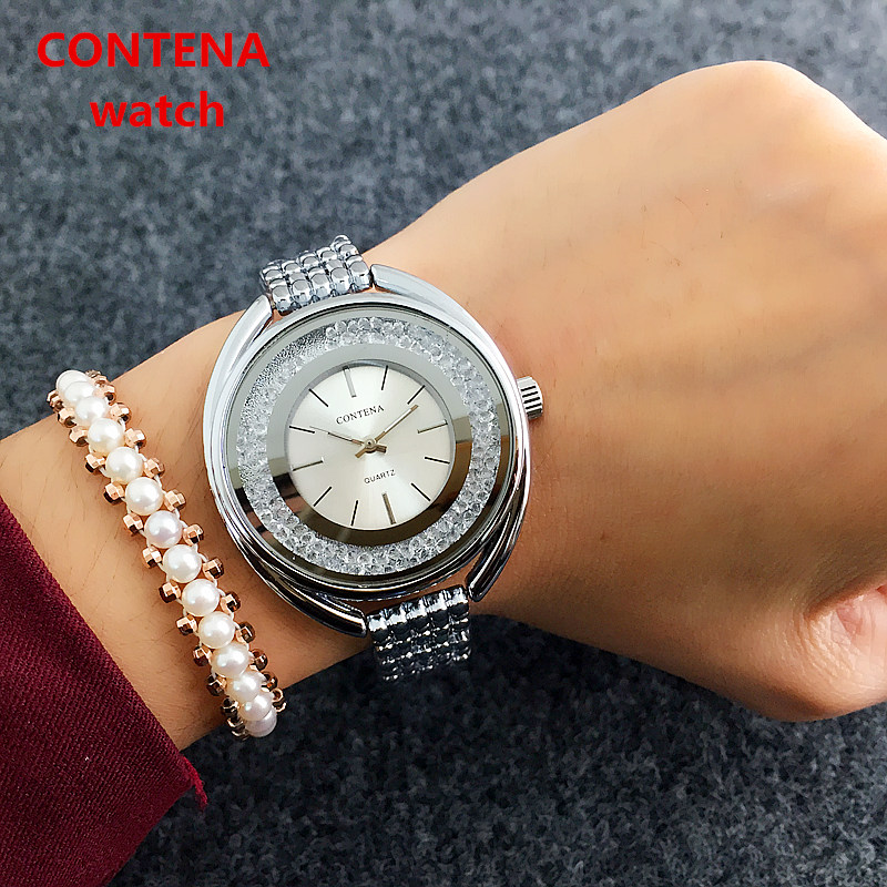 2019 CONTENA Crystal Diamond Luxury Brand Women Watches Rose Golden Watch Women Full Steel Wrist Watch Fashion Ladies Watch
