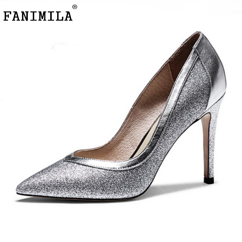 Ladies Real Leather High Heels Pumps Pointed Toe Sexy Thin High Heeled Shoes Women Shine Wedding Party  Footwears Size 34-39  цена и фото