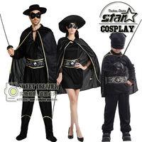 Zorro Traje Robin Cosplay Dia Das Bruxas Para O Dia da Mãe Crianças Menino Anime Role-Playing Bonito Conjunto de Roupas Da Criança Do Traje do Carnaval